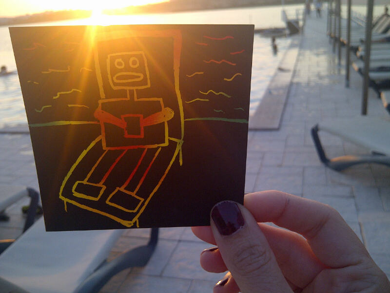 Mummy Bot relaxing by the pool
