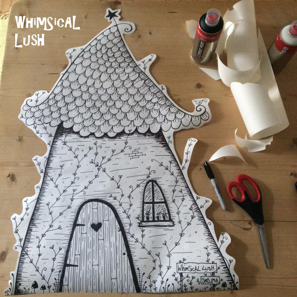 Freehand original WhimSicAL LusH house illustration ready to be pasted up in BrewDog Dundee